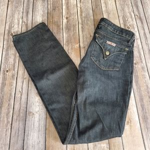 Hudson Carly Flap Straight Leg Black Jeans